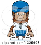 Clipart Of A Cartoon Happy Bigfoot Sports Coach Royalty Free Vector Illustration
