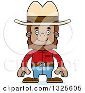 Clipart Of A Cartoon Happy Cowboy Bigfoot Royalty Free Vector Illustration