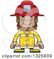 Clipart Of A Cartoon Happy Bigfoot Firefighter Royalty Free Vector Illustration