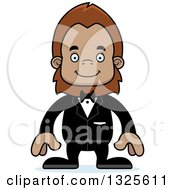Clipart Of A Cartoon Happy Bigfoot Groom Royalty Free Vector Illustration