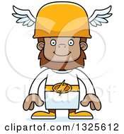 Clipart Of A Cartoon Happy Bigfoot Hermes Royalty Free Vector Illustration