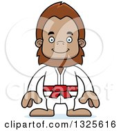 Clipart Of A Cartoon Happy Karate Bigfoot Royalty Free Vector Illustration by Cory Thoman