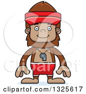 Clipart Of A Cartoon Happy Bigfoot Lifeguard Royalty Free Vector Illustration by Cory Thoman