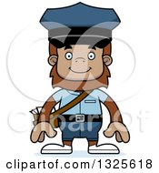 Clipart Of A Cartoon Happy Bigfoot Mailman Royalty Free Vector Illustration by Cory Thoman