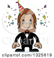 Clipart Of A Cartoon Happy Party Bigfoot Royalty Free Vector Illustration by Cory Thoman