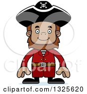Clipart Of A Cartoon Happy Bigfoot Pirate Royalty Free Vector Illustration by Cory Thoman