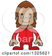 Clipart Of A Cartoon Happy Bigfoot In Pajamas Royalty Free Vector Illustration by Cory Thoman