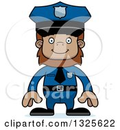 Clipart Of A Cartoon Happy Bigfoot Police Officer Royalty Free Vector Illustration by Cory Thoman