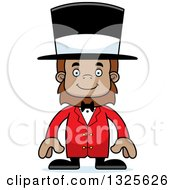 Clipart Of A Cartoon Happy Bigfoot Circus Ringmaster Royalty Free Vector Illustration by Cory Thoman