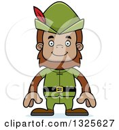 Clipart Of A Cartoon Happy Robin Hood Bigfoot Royalty Free Vector Illustration by Cory Thoman