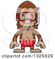 Clipart Of A Cartoon Happy Bigfoot In Snorkel Gear Royalty Free Vector Illustration by Cory Thoman