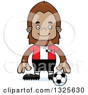 Clipart Of A Cartoon Happy Bigfoot Soccer Player Royalty Free Vector Illustration by Cory Thoman