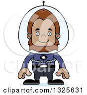 Clipart Of A Cartoon Happy Futuristic Space Bigfoot Royalty Free Vector Illustration by Cory Thoman