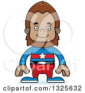 Clipart Of A Cartoon Happy Bigfoot Super Hero Royalty Free Vector Illustration by Cory Thoman