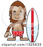 Clipart Of A Cartoon Happy Bigfoot Surfer Royalty Free Vector Illustration by Cory Thoman