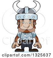 Clipart Of A Cartoon Happy Bigfoot Viking Royalty Free Vector Illustration by Cory Thoman
