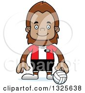 Clipart Of A Cartoon Happy Bigfoot Volleyball Player Royalty Free Vector Illustration by Cory Thoman