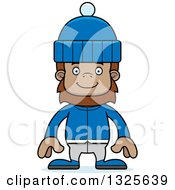 Clipart Of A Cartoon Happy Bigfoot In Winter Clothes Royalty Free Vector Illustration by Cory Thoman