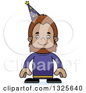 Clipart Of A Cartoon Happy Bigfoot Wizard Royalty Free Vector Illustration by Cory Thoman