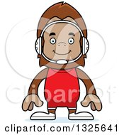Clipart Of A Cartoon Happy Bigfoot Wrestler Royalty Free Vector Illustration by Cory Thoman