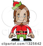 Clipart Of A Cartoon Happy Christmas Elf Bigfoot Royalty Free Vector Illustration by Cory Thoman