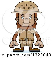 Clipart Of A Cartoon Happy Bigfoot Zookeeper Royalty Free Vector Illustration