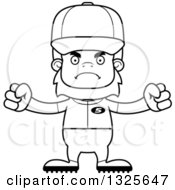 Poster, Art Print Of Cartoon Black And White Mad Bigfoot Baseball Player
