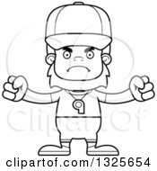 Lineart Clipart Of A Cartoon Blcak And White Mad Bigfoot Sports Coach Royalty Free Outline Vector Illustration