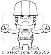 Cartoon Black And White Mad Bigfoot Construction Worker