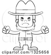 Lineart Clipart Of A Cartoon Blcak And White Mad Cowboy Bigfoot Royalty Free Outline Vector Illustration