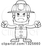 Lineart Clipart Of A Cartoon Blcak And White Mad Bigfoot Firefighter Royalty Free Outline Vector Illustration