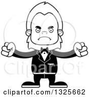 Lineart Clipart Of A Cartoon Blcak And White Mad Bigfoot Groom Royalty Free Outline Vector Illustration