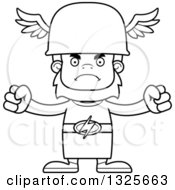 Lineart Clipart Of A Cartoon Blcak And White Mad Bigfoot Hermes Royalty Free Outline Vector Illustration
