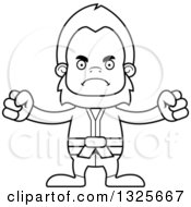 Lineart Clipart Of A Cartoon Blcak And White Mad Karate Bigfoot Royalty Free Outline Vector Illustration