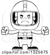 Lineart Clipart Of A Cartoon Blcak And White Mad Bigfoot Race Car Driver Royalty Free Outline Vector Illustration