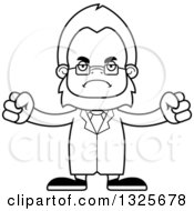Lineart Clipart Of A Cartoon Blcak And White Mad Bigfoot Scientist Royalty Free Outline Vector Illustration
