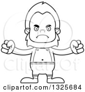 Lineart Clipart Of A Cartoon Blcak And White Mad Bigfoot Swimmer Royalty Free Outline Vector Illustration