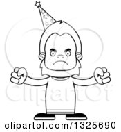 Lineart Clipart Of A Cartoon Blcak And White Mad Bigfoot Wizard Royalty Free Outline Vector Illustration