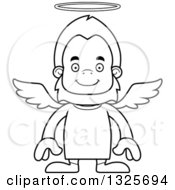 Lineart Clipart Of A Cartoon Blcak And White Happy Bigfoot Angel Royalty Free Outline Vector Illustration