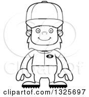 Poster, Art Print Of Cartoon Black And White Happy Bigfoot Baseball Player