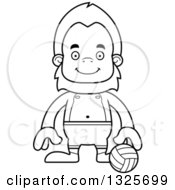 Lineart Clipart Of A Cartoon Blcak And White Happy Bigfoot Beach Volleyball Player Royalty Free Outline Vector Illustration