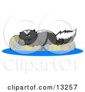 Lazy Skunk Relaxing On A Floaty In A Swimming Pool Clipart Illustration