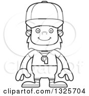 Lineart Clipart Of A Cartoon Blcak And White Happy Bigfoot Sports Coach Royalty Free Outline Vector Illustration