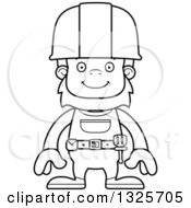 Cartoon Black And White Happy Bigfoot Construction Worker