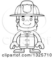 Lineart Clipart Of A Cartoon Blcak And White Happy Bigfoot Firefighter Royalty Free Outline Vector Illustration