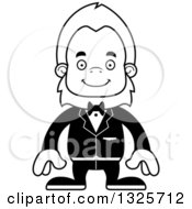 Lineart Clipart Of A Cartoon Blcak And White Happy Bigfoot Groom Royalty Free Outline Vector Illustration