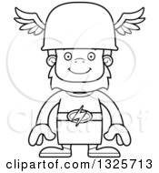 Lineart Clipart Of A Cartoon Blcak And White Happy Bigfoot Hermes Royalty Free Outline Vector Illustration