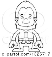 Lineart Clipart Of A Cartoon Blcak And White Happy Karate Bigfoot Royalty Free Outline Vector Illustration