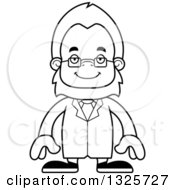 Lineart Clipart Of A Cartoon Blcak And White Happy Bigfoot Scientist Royalty Free Outline Vector Illustration