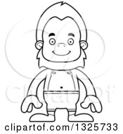 Lineart Clipart Of A Cartoon Blcak And White Happy Bigfoot Swimmer Royalty Free Outline Vector Illustration